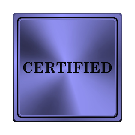 endorsed: Square metallic icon with carved design on blue background