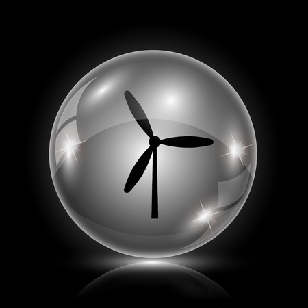 windfarm: Shiny glossy icona - palla di vetro su sfondo nero Vettoriali