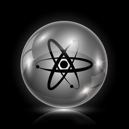 gamma radiation: Shiny glossy icon - glass ball on black background Illustration