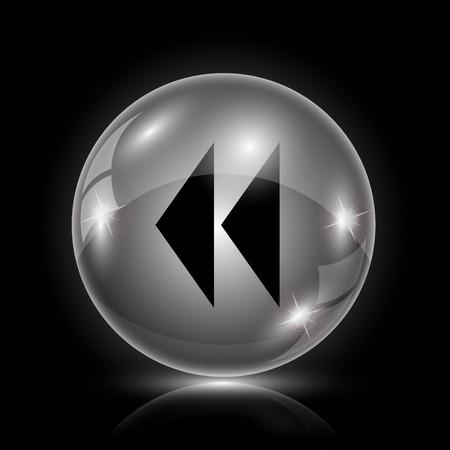 rewind icon: Shiny glossy icon - glass ball on black background Illustration