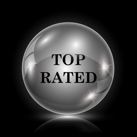 top class: Shiny glossy icon - glass ball on black background Illustration