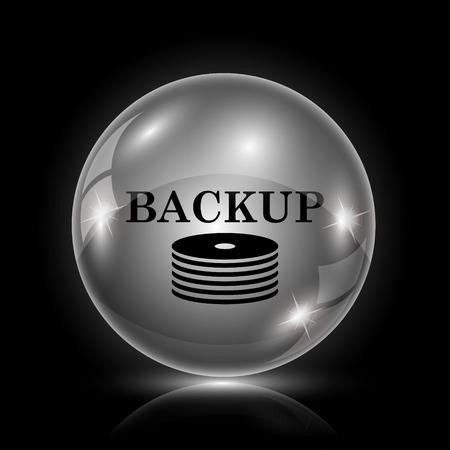 protected database: Icono brillante brillante - la bola de cristal sobre fondo negro Vectores