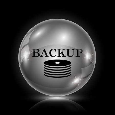 archiving: Shiny glossy icon - glass ball on black background Illustration