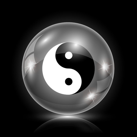karma design: Shiny glossy icon - glass ball on black background Illustration