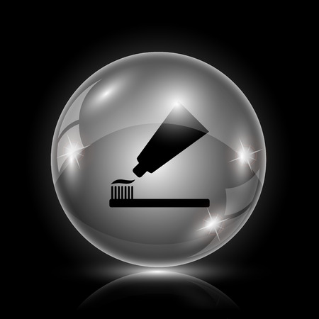 fluoride toothpaste: Shiny glossy icon - glass ball on black background Illustration