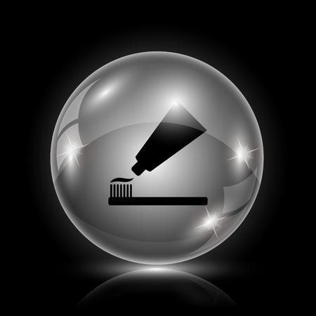 toothbrushing: Shiny glossy icon - glass ball on black background Illustration