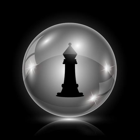 king master: Shiny glossy icon - glass ball on black background Illustration