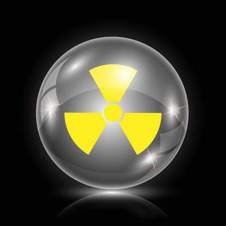 nuke: Shiny glossy icon - glass ball on black background Illustration