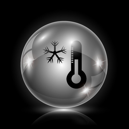coldness: Shiny glossy icon - glass ball on black background Illustration