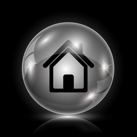 Shiny glossy icon - glass ball on black background Illustration