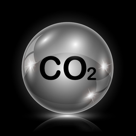 danger carbon dioxide  co2  labels: Shiny glossy icon - glass ball on black background Illustration