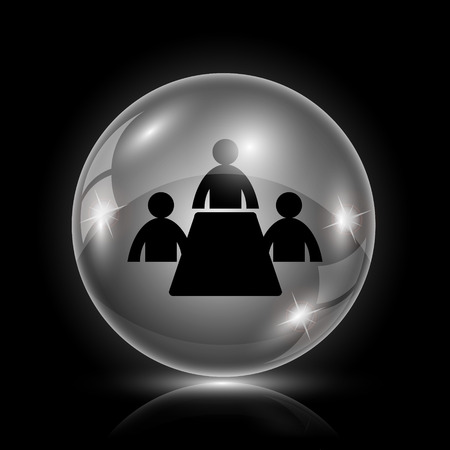 training room: Shiny glossy icon - glass ball on black background Illustration