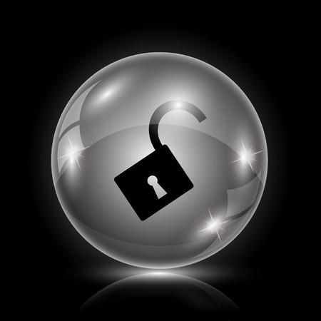 encrypted: Shiny glossy icon - glass ball on black background Illustration