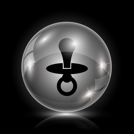 surrogate: Shiny glossy icon - glass ball on black background Illustration