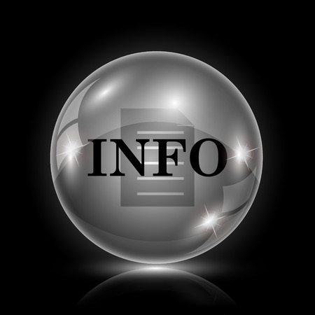 service sphere support web: Shiny glossy icon - glass ball on black background Illustration