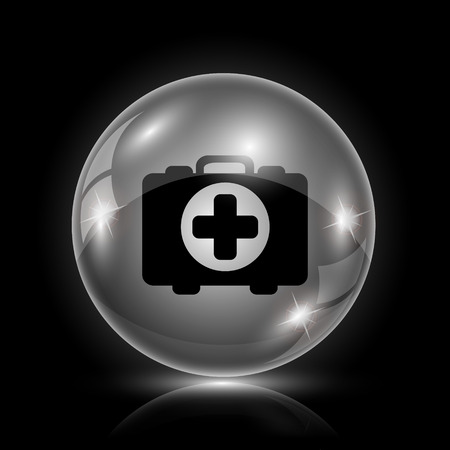 first aid kit key: Shiny glossy icon - glass ball on black background Illustration