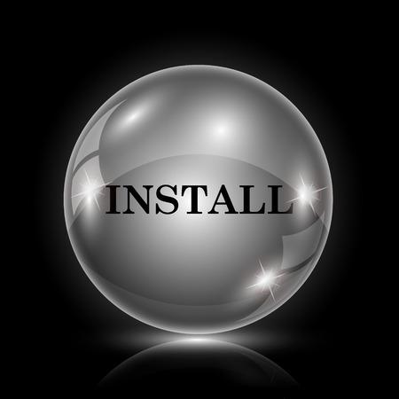 operative system: Shiny glossy icon - glass ball on black background Illustration