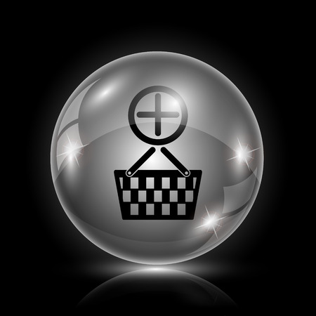Shiny glossy icon - glass ball on black background Vector
