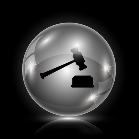 courthouse: Shiny glossy icon - glass ball on black background Illustration