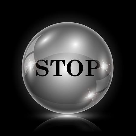 run off: Shiny glossy icon - glass ball on black background Illustration