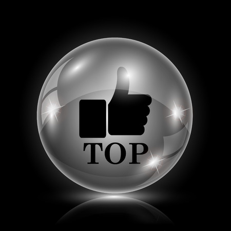 best rated: Shiny glossy icon - glass ball on black background Illustration