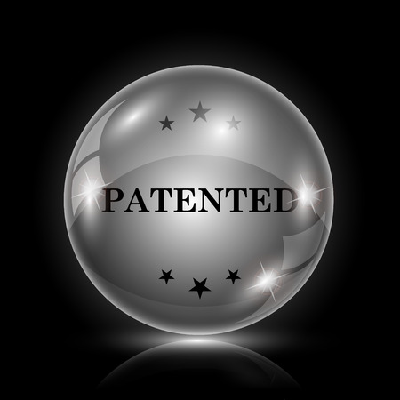 plagiarism: Shiny glossy icon - glass ball on black background Illustration
