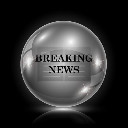 news update: Shiny glossy icon - glass ball on black background Illustration