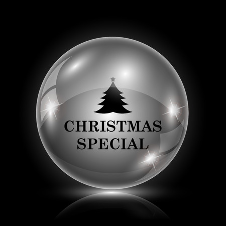christmas bonus: Shiny glossy icon - glass ball on black background Illustration
