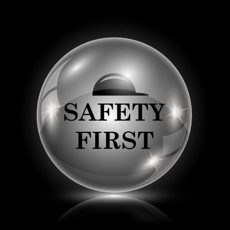 alert ribbon: Shiny glossy icon - glass ball on black background Illustration