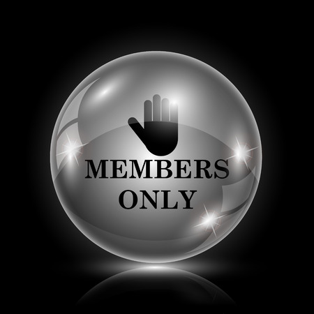 closed club: Shiny glossy icon - glass ball on black background Illustration