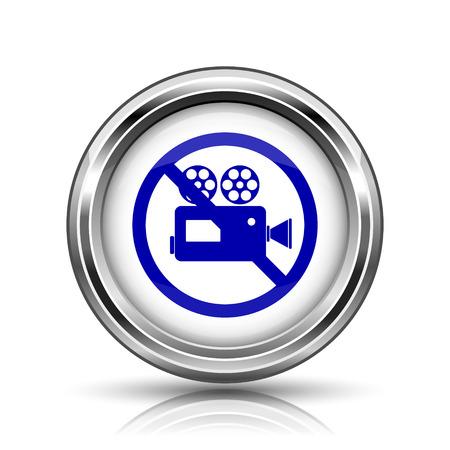 alert ribbon: Shiny glossy icon - internet metallic button Stock Photo