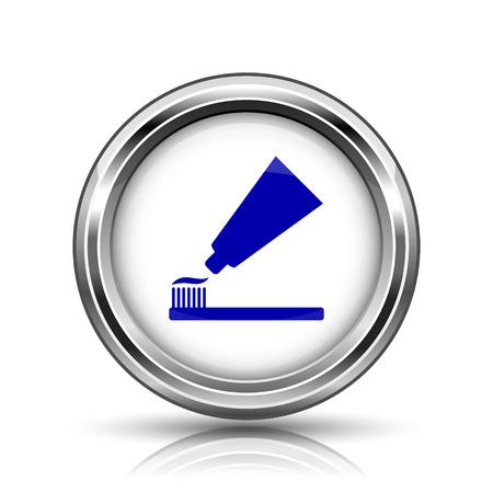 fluoride toothpaste: Shiny glossy icon - internet metallic button Stock Photo