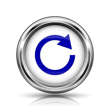 Shiny glossy icon - internet metallic button Stock Photo