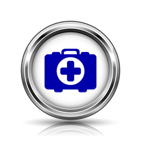 first aid kit key: Shiny glossy icon - internet metallic button Stock Photo
