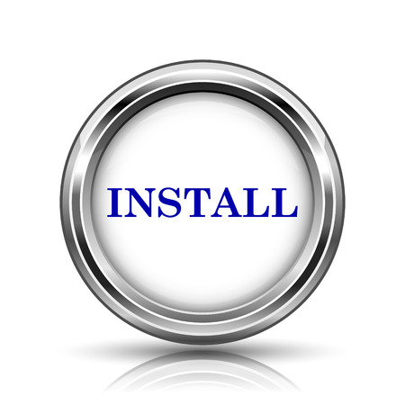 Shiny glossy icon - internet metallic button Stock Photo - 26640061