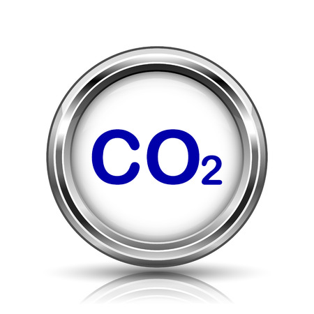 danger carbon dioxide  co2  labels: Shiny glossy icon - internet metallic button Stock Photo