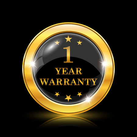 one year warranty: Golden shiny icon on black background - internet button