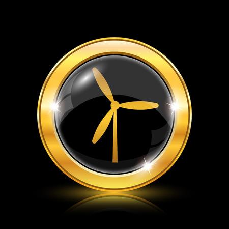 windfarm: Oro lucido icona su sfondo nero - internet pulsante