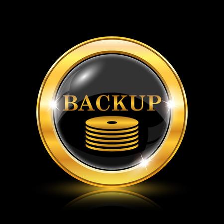 hard drive: Golden shiny icon on black background - internet button