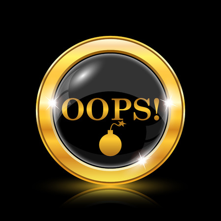 blunder: Golden shiny icon on black background - internet button