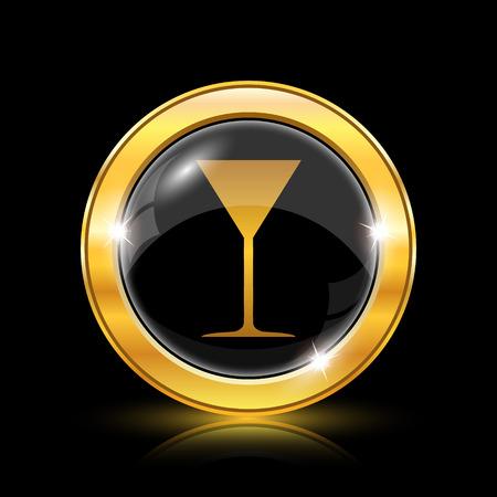 vermouth: Golden shiny icon on black background - internet button
