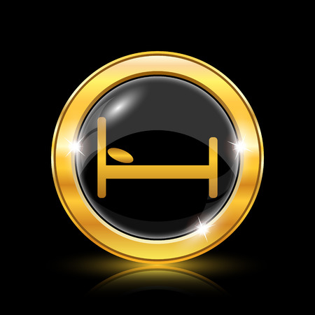 Golden shiny icon on black background - internet button Stock Vector - 26769601