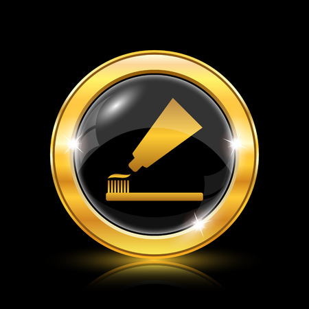 fluoride toothpaste: Golden shiny icon on black background - internet button