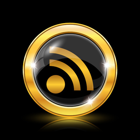 extensible: Golden shiny icon on black background - internet button