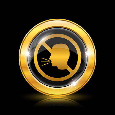 loudy: Golden shiny icon on black background - internet button