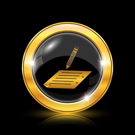 subscribing: Golden shiny icon on black background - internet button