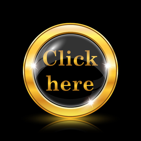 Golden shiny icon on black background - internet button Stock Vector - 26769679