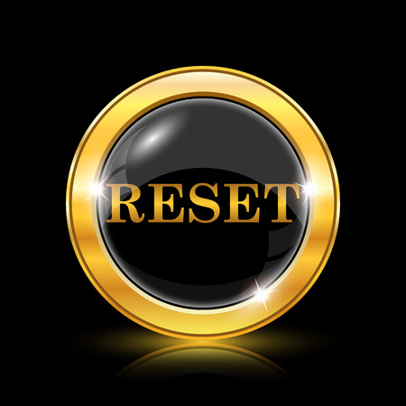 rebuild: Golden shiny icon on black background - internet button