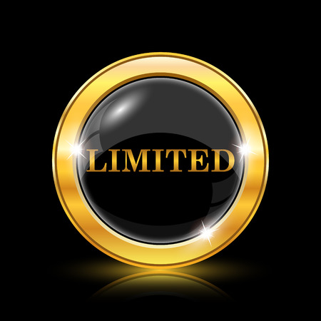 auction off: Golden shiny icon on black background - internet button