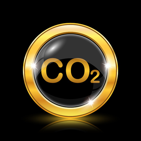 danger carbon dioxide  co2  labels: Golden shiny icon on black background - internet button